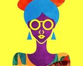 Girl with Sea Monster Shirt Print (Blue Hair Purple Afrofuturism Mermaid and Fish African American Art) 5x7, 8x10, 11x14