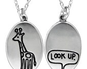 Sterling Silver Giraffe Necklace - Look Up Pendant - Giraffe Medallion