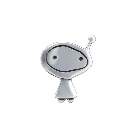 Orbit Girl Necklace - Sterling Silver Alien Pendant - Astronaut Pendant