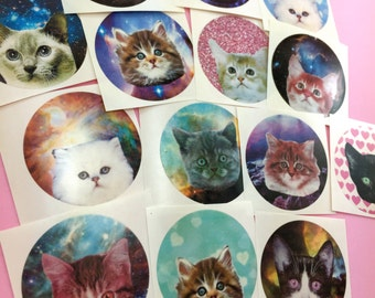 Cute Galaxy KITTY Stickers Set