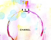 Chanel Art, Chanel Perfume Watercolor Print, Perfume Illustration, Chanel Eau Tendre Print, Large Poster Fashion Watercolor Decor, GIft Idea