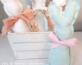 Stuffed Bunny Spring Decor Easter Basket Handmade Upcycled - Mint