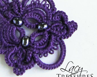 Purple necklace . LACE Necklace . Original artisan jewelry . Lace jewelry . Unique Gift for mother grandmother