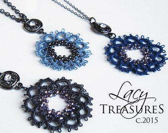 Unique Blue Beaded Necklace . Handmade Tatted LACE Jewelry . Modern Vintage Fashion Statement . Unique Wearable Fiber Art . FREE shipping