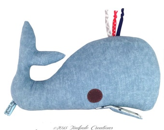 Denim Blue Whale Plush Pillow - New Baby Gift - Softie - Nautical Nursery Decor - New Baby Gift - Decorative Pillow