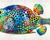 Puffer Fish Art Print from Painting Colorful Deep Sea Fishing Angler Blow Fish Tropical Beach CANVAS Ready 2 Hang Large Artwork Sea Ocean