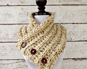 Crochet Cowl - Wellington Cowl in Oatmeal Tweed, Oatmeal Scarf, Oatmeal Cowl - Womens Accessories