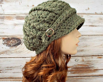 Green Womens Hat Green Newsboy Hat Green Hat - Spring Monarch Ribbed Crochet Newsboy Hat Willow Green Crochet Hat - READY TO SHIP