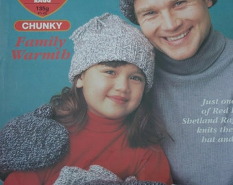 Hat and Mittens Knitting Patterns Family Warmth Red Heart 928 - 501 Men Women Children Paper Original NOT a PDF