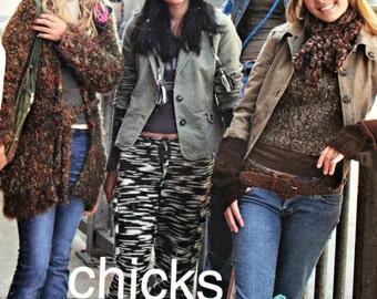 Knitting Patterns Chick Knits All Hip Bernat Hat Cardigan Scarf Pants Vest Legwarmers Women Paper Original NOT a PDF
