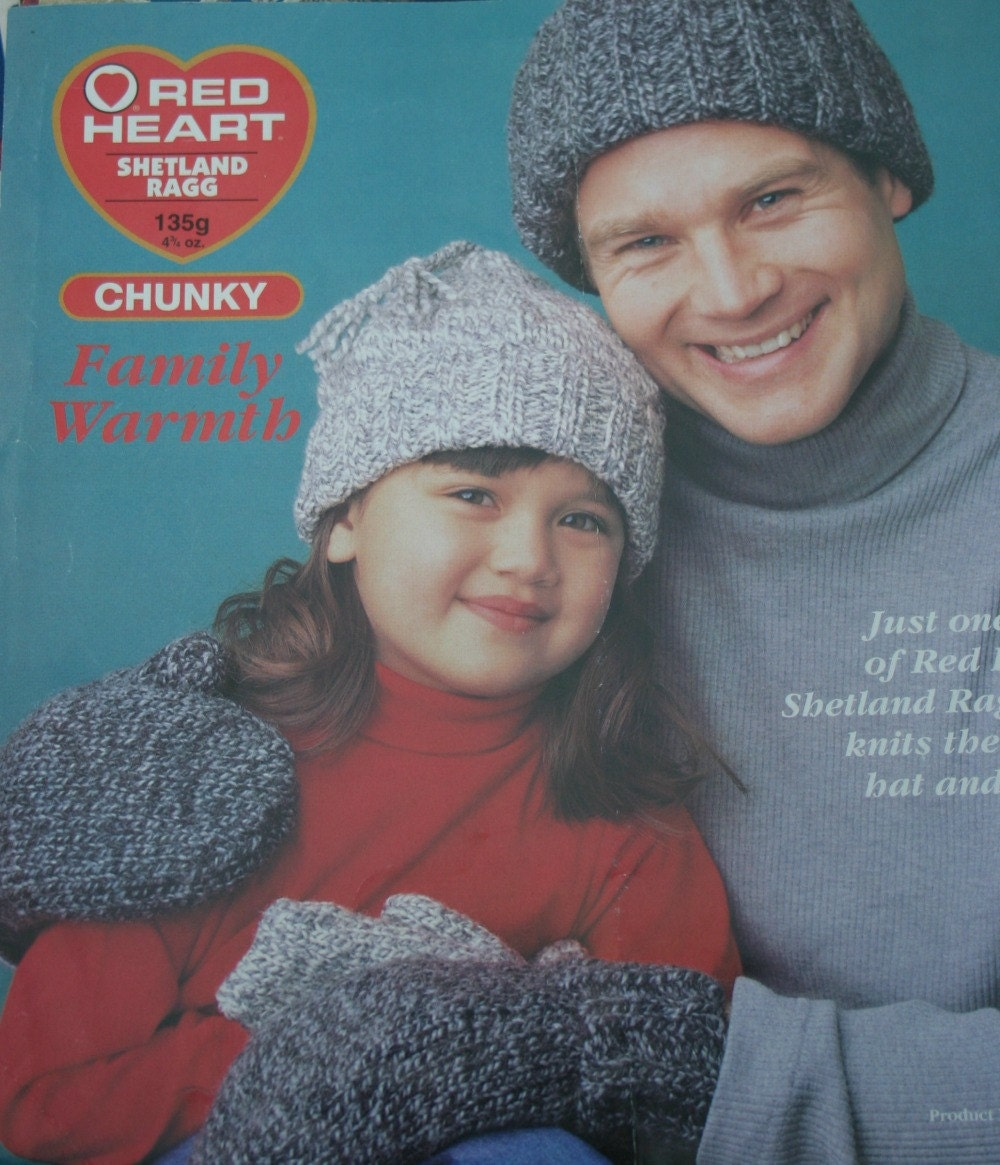 Hat and Mittens Knitting Patterns Family Warmth Red Heart ...