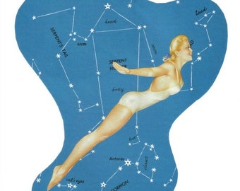 One of a Kind Collage Art, Retro Map Artwork, Sky Dive, Sky Diving, Original Collage, Night Sky Map Wall Art, Star Constellation Decor