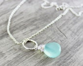 Aqua Gemstone Necklace, Light Aqua Necklace, Light Blue Necklace, Sterling Silver Necklace, Circle Pendant, Wire Wrap Necklace, Delicate