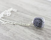 Sterling Silver Necklace, Silver Druzy Necklace, Wire Wrap Necklace, Gray Necklace, Grey Necklace, Gemstone Pendant Necklace, Drusy Pendant