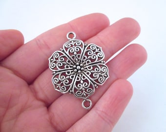 Silver flower filigree connectors 41x28mm, pick your amount, B26