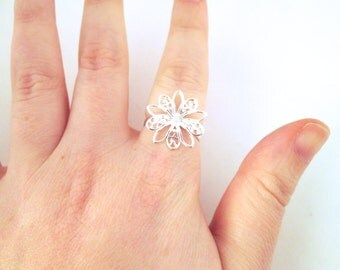10 20mm silver plated filigree flower rings ON SALE