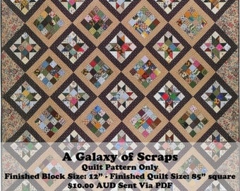 A Galaxy of Scraps Quilt Pattern - Bust your scrap stash with this striking quilt.