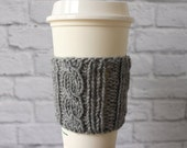 Cabled Coffee Cozy, Knit Coffee Cup Cozy, Reusable Coffee Cozy, Knitted Cozy, Knit Coffee Cozy, Stocking Stuffer, Gifts Under 15