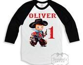Cowboy Birthday Shirt - Boys Cowboy Shirt - Black White Baseball - Birthday TShirt - Western Party - Rodeo Personalize - Custom Size Retro