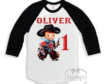 Cowboy Birthday Shirt - Boys Cowboy Shirt - Black White Baseball - Birthday TShirt - Western Party - Rodeo Personalize - Custom Size Retro