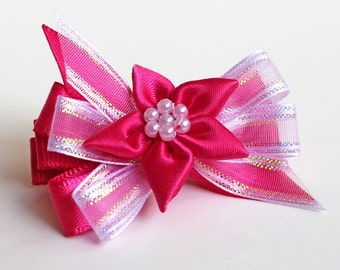 Pink Hair Bows. Hair Clips With Non-Slip Grips Set of 2. Girls Holiday Party Wear. Toddler Hair Bling. Hot Pink Fancy Dress Ribbon Bows