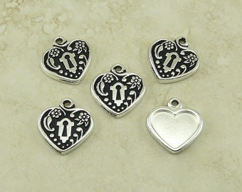 5 TierraCast DIY Heart Locket Frame Charms * Valentine Mothers Day Bride Bridal - Silver Plated Lead Free Pewter I ship Internationally 2343