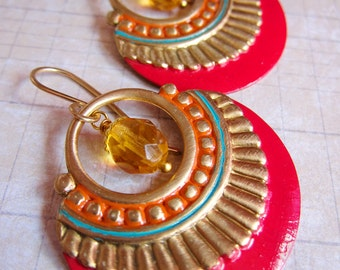 Nouveau Antiquity - Cerise Red and Golden Yellow Hand-painted Shield Earrings in Golden Brass