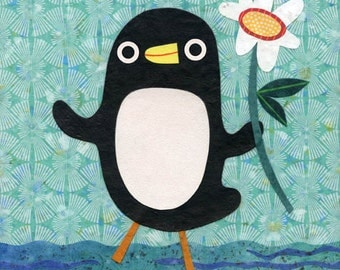 Penguin With a Flower