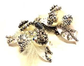"Crystal, silver, white, ""Barock"" rhinestone fantasy Bracelet"