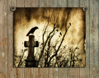 Ravens Art, Crows In Graveyard, Aged Art Image, Vintage Style Photograph, Blackbirds, Gothic Decor, Trees - Strange Days