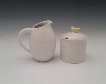 Ceramic Creamer and Sugar Set with Bird