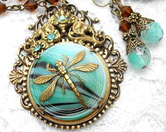 Minty Green Dragonfly Glass Button Necklace and Earring Set