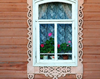 Decorative Russian Window Photography. Woodwork. Dacha, cabin. Ancient architecture. Peach wood. Russia.
