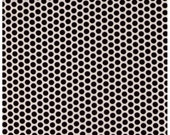 HALF YARD Yuwa Fabric - Black Kei Honeycombs on Cream Ivory- Polka Dots by Kei - Japanese Import Fabric