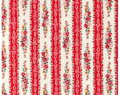 HALF YARD Yuwa - Roses and Ribbon Stripes Watermelon Red - Atsuko Matsuyama 30s collection - Flowers, Daisy, Bows, Lace