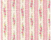 HALF YARD Yuwa - Roses and Ribbon Stripes Pink - Atsuko Matsuyama 30s collection - Flowers, Daisy, Bows, Lace