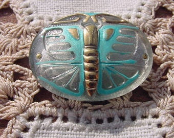 Aqua Golden Art Deco Dragonfly Czech Glass Button