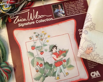 Erica Wilson Crewel Kit - 1980s Strawberry Flower Fairy kit