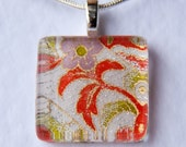 Handmade Glass Tile Japanese Washi Flower Pendant