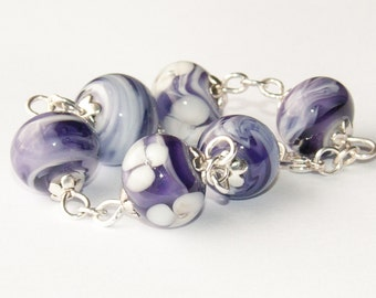 Handmade Silver Plated Bracelet with Purple Lavender Lampwork Glass Flower and Swirl Beads