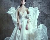 Beaded illusion top and silk chiffon separates gown - Estella