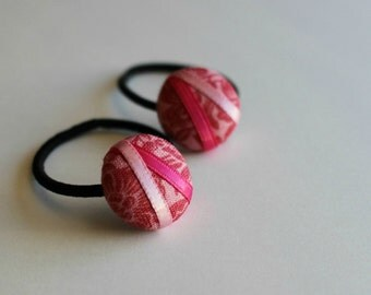 Strawberry Blooms - Set of 2 Mini Hair Ties - Button Ponytail Holders - Hair Candy by Gazzu