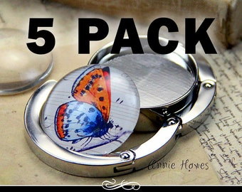 5 Pack of Purse Hangers with Glass Insert DIY Kit. Photo Jewelry Making from Annie Howes. 5 Pack.