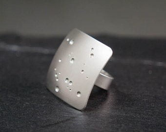 Large Square Silver Ring, Geometric Womens Ring