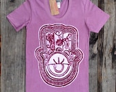 Hamsa Eco Friendly Batik t shirt individually hand drawn hand painted & hand dyed - yoga clothes - hand of fatima - old rose