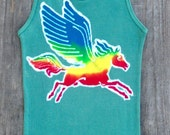 Pegasus Batik yoga tops and tees ribbed tank top women eco friendly teal green