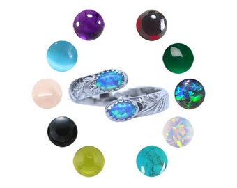 Choose your gemstones Sterling Silver adjustable Spoon ring