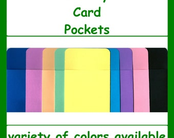 Library Card Pockets ~ Book Checkout Loan Card Holders ~ Made from Cardstock ~ Variety of Colors ~ Free Shipping