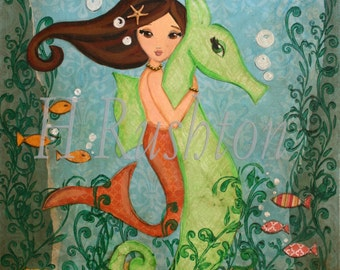 Mermaid Decor- Children's Art- Beach Decor-Mermaid and Seahorse Art- Large Scale Art Print 11x14 or 16x20