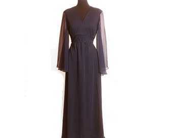Vintage 1970s Navy Sheer Princess Sleeve Empire Waist Long Maxi Dress size M